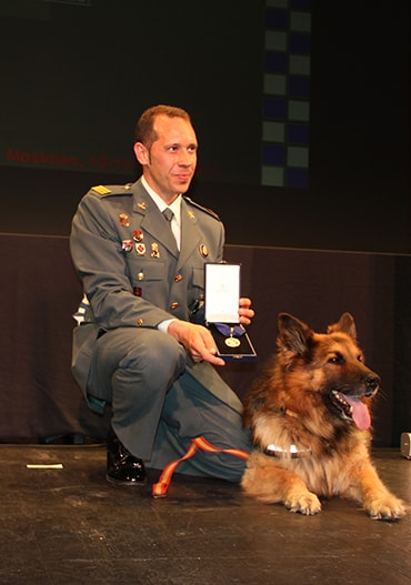 Ajax the dog with his handler