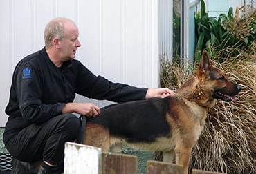 Gagethe dog with his handler